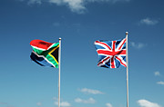 South African Prints - British And South African Flags, Sedgefield, Western Cape, South Africa Print by Neil Overy