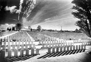 Black And White Photos Posters - British Cemetery Poster by Simon Marsden