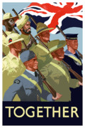 British Propaganda Prints - British Empire Soldiers Together Print by War Is Hell Store