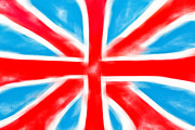 Shiny Fabric Prints - British flag Print by Tom Gowanlock