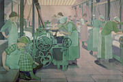 Worker Painting Framed Prints - British Industries - Cotton Framed Print by Frederick Cayley Robinson