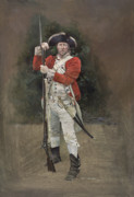 Single Figure Study Painting Prints - British Infantryman c.1777 Print by Chris Collingwood