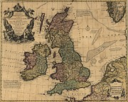 History Channel Framed Prints - British Isles In Early 18th Century Map Framed Print by Everett