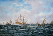 Seascape; Ships; Sail; Sailing; Ship; War; Battle; Battling; United States; Wasp; Brig Of War; Frolic; Sea; Water; Cloud; Clouds; Flag; Flags; Sloop; Action; Wave; Waves Paintings - British Man-o-War and Other Craft by Richard Willis