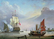 Harbor Paintings - British Man-o-War off the coast by George Webster