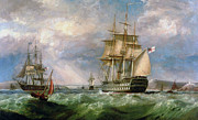 Ireland Paintings - British Men-O-War Sailing into Cork Harbour  by George Mounsey Wheatley Atkinson