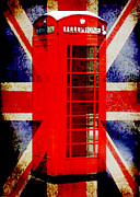 Flag Stones Framed Prints - British Phone Booth Framed Print by John Rosa