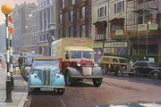 Streetscene Paintings - British Railways Austin K2 by Mike  Jeffries