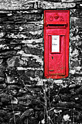 Wall Stone Wall Prints - British Red Post Box Print by Meirion Matthias