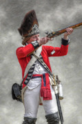 Reenactor Framed Prints - British Redcoat Firing Musket Portrait  Framed Print by Randy Steele