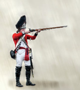 Revolutionary War Digital Art Prints - British Revolutionary War Soldier Aiming Musket Print by Randy Steele