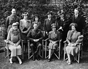 Princess Margaret Framed Prints - British Royal Family. Seated, From Left Framed Print by Everett