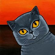 Orange Sky Posters - British Shorthair Poster by Leanne Wilkes