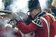 Engagement Photo Prints - British Soldier Firing Print by JT Lewis