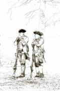 Reenactment Posters - British Soldiers Sketch Poster by Randy Steele