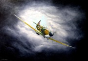 Warplane Paintings - British Spitfire Mk. 1A by Tony Calleja