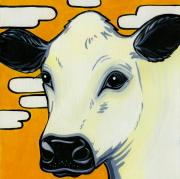 Cows Paintings - British White by Leanne Wilkes