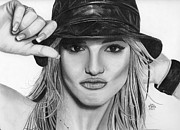 Pencil Portrait Drawings - Britney Spears by Gil Fong