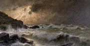 Crashing Waves Paintings - Brittany Coast by GPC Maroniez