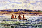 Sailboat Ocean Paintings - Brittany by Henry Moret