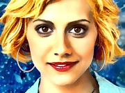 Celebrity Greeting Cards Mixed Media - Brittany Murphy Portrait A by Andre Drauflos