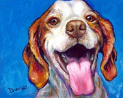 Dog Art Paintings - Brittany Spaniel Smiling by Dottie Dracos