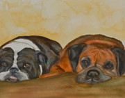Boxer Paintings - Brittles and Hollie by Amy Pilafas