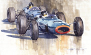 Sports Paintings - BRM P261 1965 Italian GP Stewart Hill by Yuriy  Shevchuk