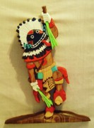 Intarsia Sculpture Posters - Broad Faced Kachina Poster by Russell Ellingsworth