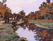 Indiana Autumn Painting Prints - Broad Ripple Canal 2 Print by Addie May Hirschten
