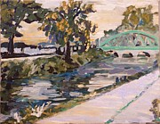 Indiana Autumn Painting Prints - Broad Ripple Canal September 2011 Print by Addie May Hirschten