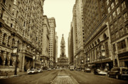 City  Posters - Broad Street Facing Philadelphia City Hall in Sepia Poster by Bill Cannon