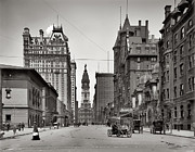 Urban Canyon Prints - Broad Street Philadelphia 1905 Print by Bill Cannon