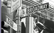 Street Sign Posters - Broadway and 42nd Poster by Sharla Gentile