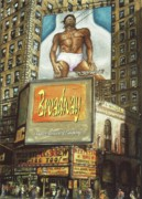 Broadway Drawings Posters - Broadway Billboard - New York Poster by Peter Art Prints Posters Gallery
