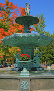 Indiana Autumn Metal Prints - Broadway Fountain II Metal Print by Steven Ainsworth
