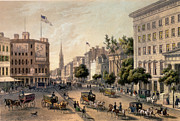 American Flag Manhattan Framed Prints - Broadway in the Nineteenth Century Framed Print by Augustus Kollner