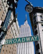 Broadway Sign And Empire State Building Print by Axiom Photographic