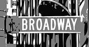 Built Digital Art Posters - Broadway Sign Color BW3 Poster by Scott Kelley