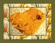 Textile Collage Posters - Brocade Bird Poster by Gretchen Wrede