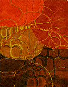 Tangerine Digital Art Prints - Brocade Circles No.2 Print by Bonnie Bruno