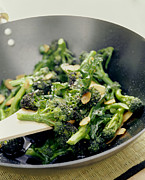 Stir Metal Prints - Broccoli Stir Fry Metal Print by David Munns