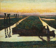 Waterways Framed Prints - Broek in Waterland Framed Print by Jan Theodore Toorop