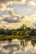 Golden Sky Prints - Broemmelsiek Park Lake 2 Print by Bill Tiepelman