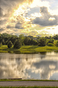 Golden Sky Prints - Broemmelsiek Park Lake Print by Bill Tiepelman