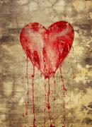 Cry Framed Prints - Broken And Bleeding Heart On The Wall Framed Print by Michal Boubin