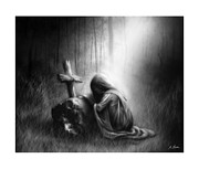 Black Woman Praying Posters - Broken and Contrite Heart Poster by Ronald Barba