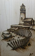 Drawing Pyrography Prints - Broken Beacan Print by Chad Bridges