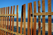 Sand Fences Framed Prints - Broken fence by the seaside Framed Print by Sami Sarkis