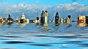 London Skyline Art - Broken flood barrier by Sharon Lisa Clarke